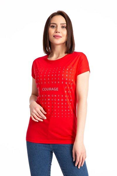 Kadın Courage Sim Baskılı Salaş Kırmızı T-shirt 19318