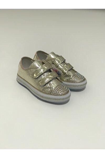 Kız Çocuk Gold Işıklı Cırtlı Ön Tarafı Taşlı Spor Ayakkabı