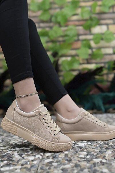 Kadın Bej Yılan Derisi Görünümlü Sneaker Ayakkabı 0012205