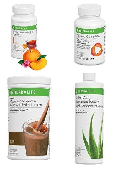 Yağ Yakıcı Set - 1 Çikolata - 1 Şeftali Çay + Aloe Içecek + Thermo