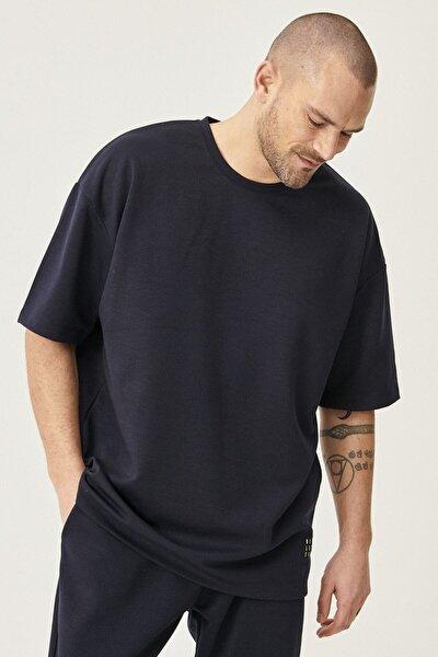 Erkek Lacivert Günlük Rahat Yuvarlak Yaka Kısa Kollu Oversize Sweatshirt