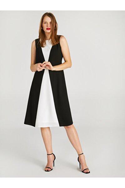 Kadın Siyah Beyaz Renk Bloklu Kolsuz Elbise 62244