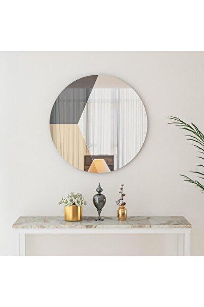 70cm Yuvarlak Dekoratif Füme-bronz-beyaz Ayna Duvar Salon Ofis Aynas