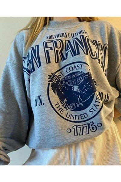 Kadın Gri San Francisco Baskılı Sweatshirt