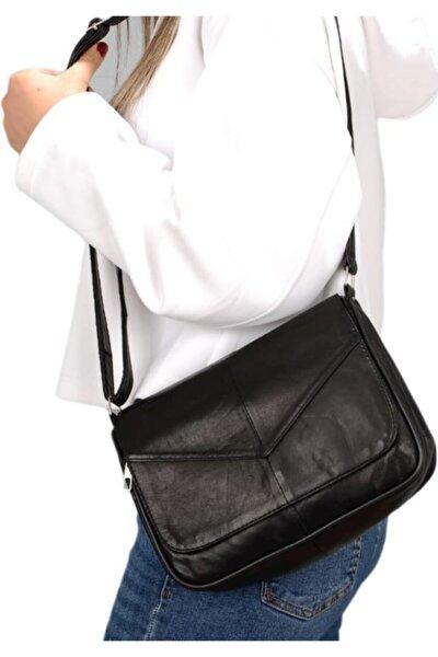 Kadın Siyah Hakiki Deri Askılı Çanta