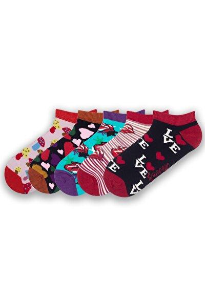 Kadın Renkli Kokulu Desenli 5'li Patik Çorap