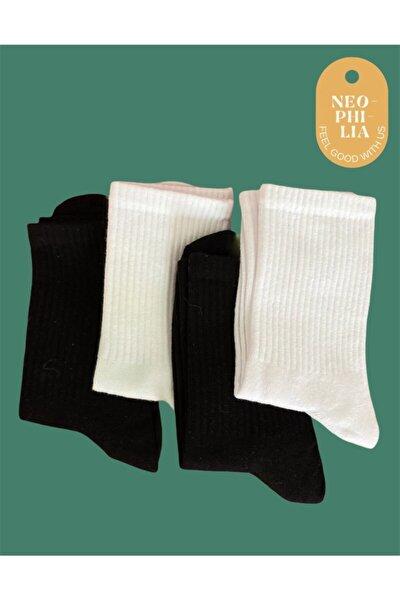 Unisex Siyah Ve Beyaz Tenis Çorabı 4'lü