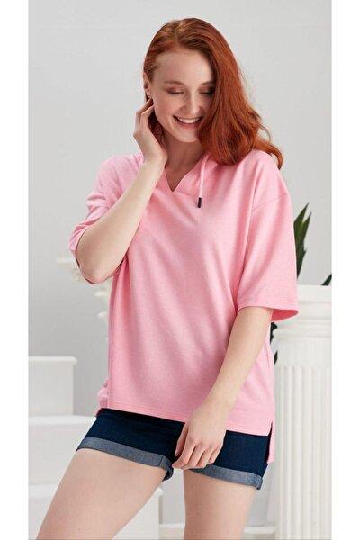 Kadın Pembe V Yaka Tshirt