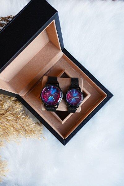 Çift Kol Saati Siyah Hasır Kordon Renkli Cam Sevgili Kadın Erkek Kol Saati