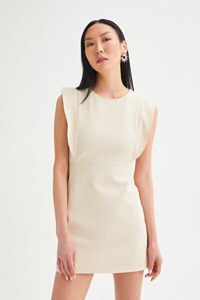 Kadın Ekru Kol Gabardin Kalem Elbise