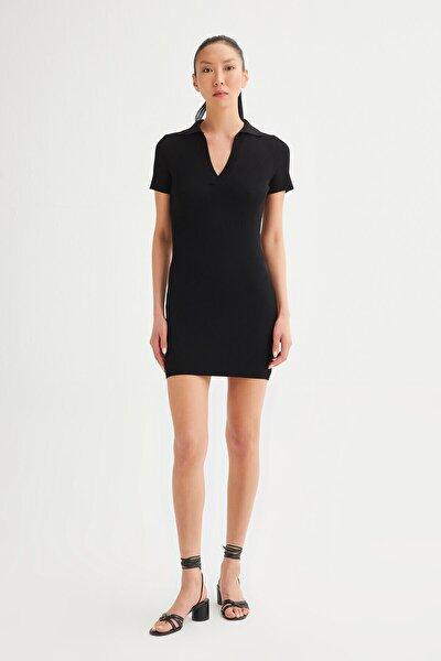 Kadın Siyah Fitilli Merserize Triko Elbise