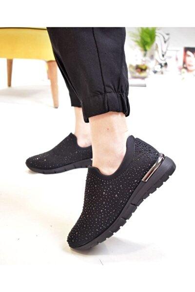 Kadın Siyah Taşlı Sneaker