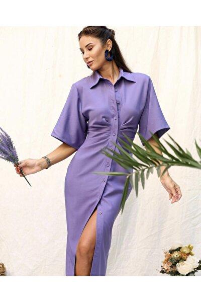 Kadın Mor Önü Drape Detaylı Gömlek Elbise