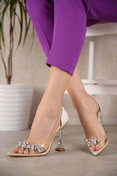 Kadın Beyaz Cilt Taşlı Şeffaf Topuklu Ayakkabı