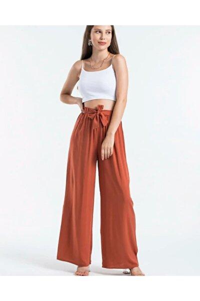 Kadın  Rahat Giyim Belden Bağlamalı Salaş Pantolon