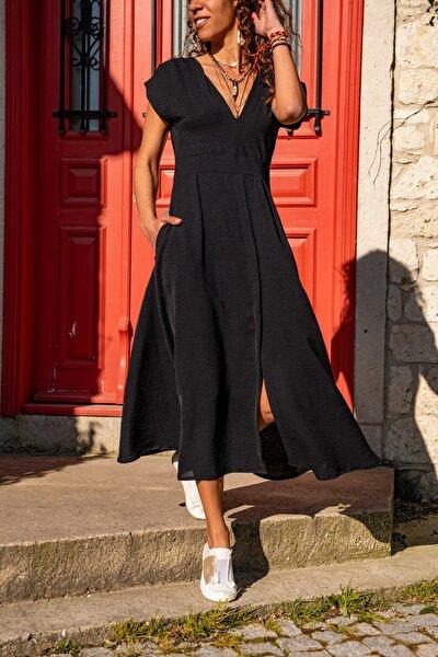 Kadın Siyah Airobin V Yaka Cepli Yırtmaçlı Kemerli Elbise GK-TD1990