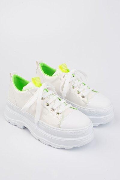 Kadın Beyaz Sneaker Kalın Taban Spor Ayakkabı Anserbeyaz