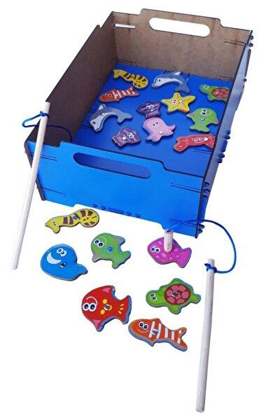 18 Lü Mavi Kasada Ahşap Mıknatıslı Balık Tutma Oyunu Çocuk Oyuncak Kutu