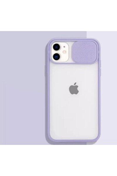Iphone 11 Uyumlu Kamera Koruyuculu Lila Kılıf Slayt Korumalı Şeffaf Telefon Kılıfı