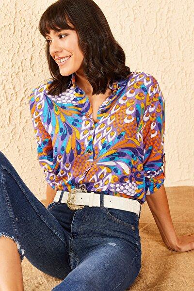Kadın Kaz Tüyü Desenli Gömlek