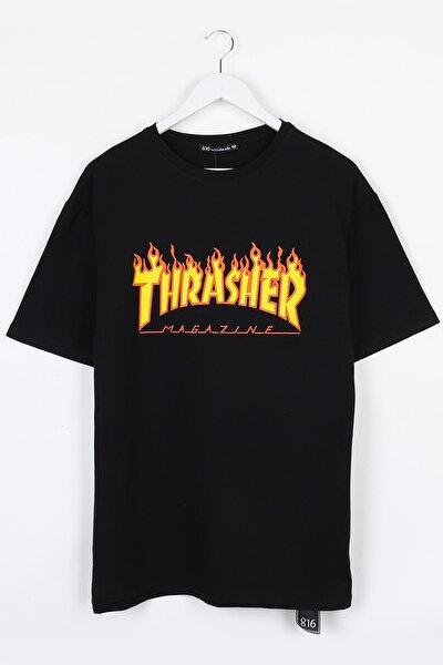 Thrasher Baskılı Siyah Oversize Unisex Tshirt