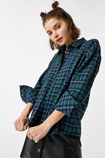 Kadın Yeşil Ekoseli Gömlek 1KAL68075IW