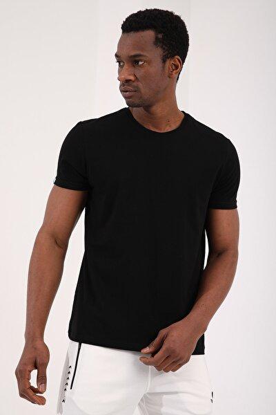 Siyah Erkek Basic Kısa Kol Standart Kalıp O Yaka T-shirt - 87911