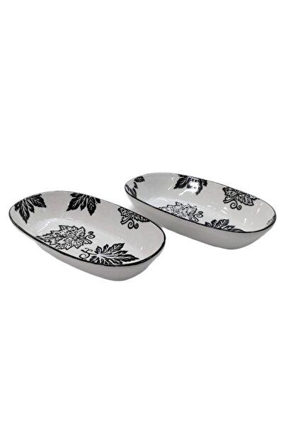 Porselen 21*11cm Kayık Salata Meze Kayık Tabağı 2 Li Set