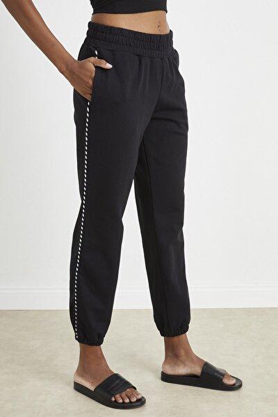 Kadın Siyah Yanı Biyeli Jogger Pantolon