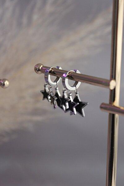 Yıldız Figürlü Silver Sallantılı Çelik Küpe