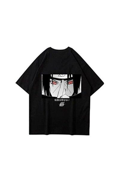 Unisex Siyah Naruto Uchiha T-Shirt