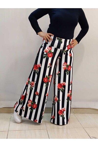 Siyah Beyaz Çizgili Gül Desenli Bol Paça Pantolon Etek
