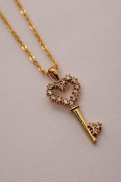 Kadın Gold Zirkon Taşlı Kalp Anahtarlı Kolye