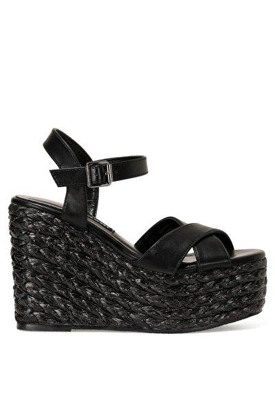 WIEMA 1FX Siyah Kadın Dolgu Topuklu Sandalet 101030114