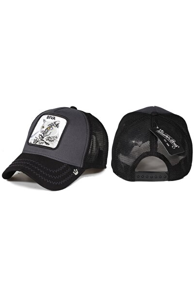 Kedi Hayvan Desenli Şapka Siyah Antrasit