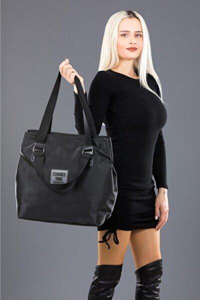Kadın Saten Kumaş Shopper Omuz Çantası
