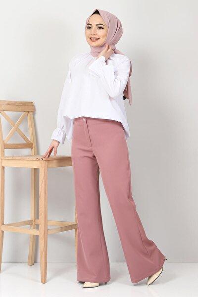 Kadın Pembe İspanyol Paça Kumaş Pantolon Tsd10620