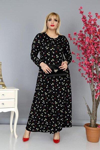 Kadın Siyah Viskon Kumaş Çiçek Desen Büyük Beden Elbise