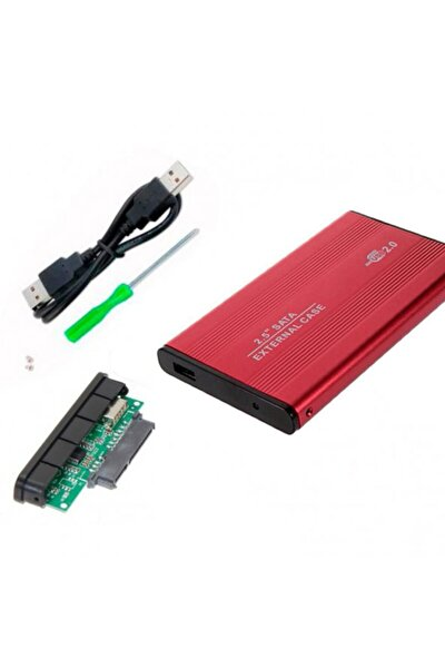 2.5 Inç Kırmızı Sata Harddisk Kutusu - Metal Notebook Hdd Hard Disk Kutu - Kırmızı
