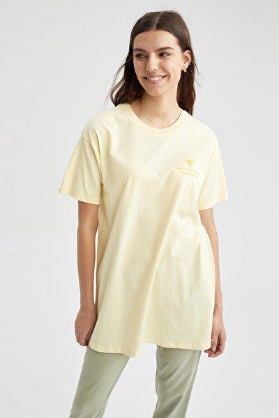 Modest Organik Pamuk Yazı Baskılı Relax Fit Tunik Tişört