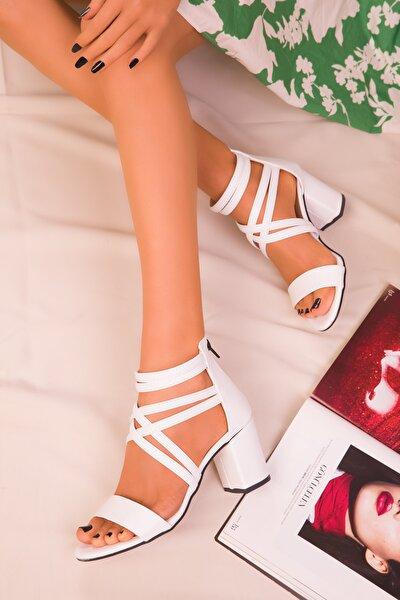 Beyaz Kadın Klasik Topuklu Ayakkabı 14670