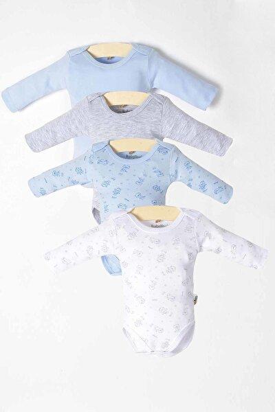 Erkek Bebek Uzun Kollu Çıtçıtlı 4lü Badi Set 121