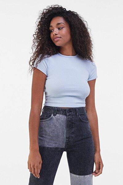 Kadın Açık Mavi Kısa Kollu Fitilli T-Shirt 02197987