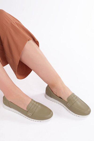 Kadın Yeşil Vonlez Kadın Hakiki Deri Loafer Ayakkabı