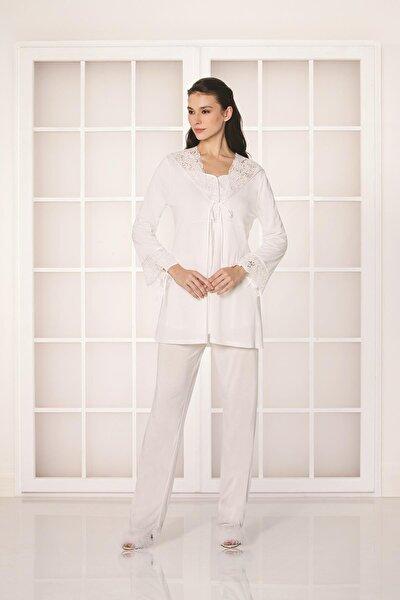 Kadın Penye 3'lü Pijama Takım - 3050 Ekru