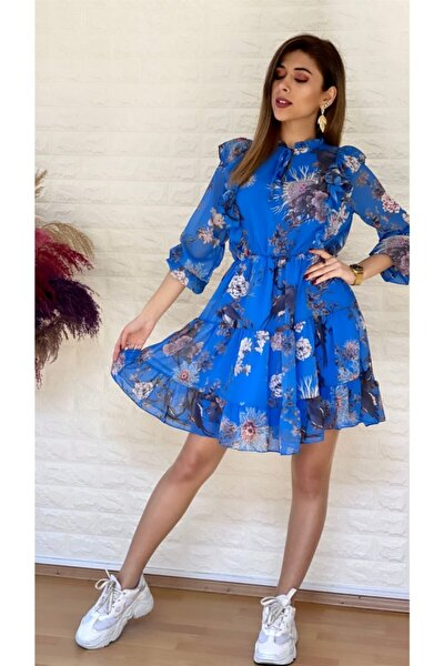 Gonca Şifon Elbise Mavi