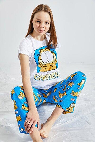 Kadın Baskılı Saks Pijama Takımı