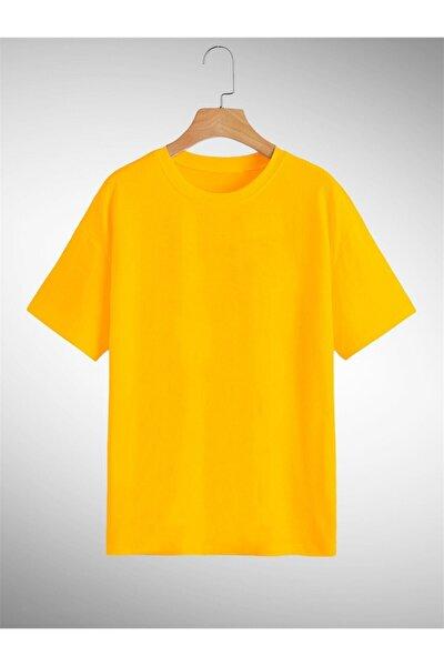 Unisex Sarı Oversize Basic Tshirt