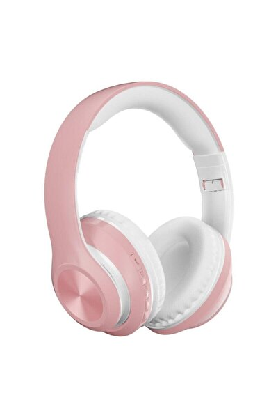 P68 Bluetooth Kulaklık Kablosuz Stereo Kulaklık Macaron Kulaklık Renkli-pembe