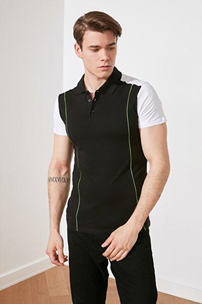 Siyah Erkek Slim Fit Kısa Kollu Polo Yaka T-shirt TMNSS21PO0185